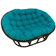 Bali Mamasan Rattan Double Papasan Chair with Solid Outdoor Fabric Cushion - Walnut/Aqua Blue