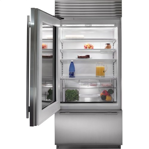 "36"" Classic Over-and-Under Refrigerator/Freezer with Glass Door - Panel Ready"