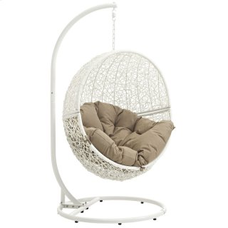 Hide Outdoor Patio Swing Chair With Stand in White Mocha