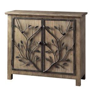 CRESTVIEW COLLECTIONSWindcrest Rustic Wood and Metal Tree 2 Door Cabinet