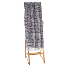 Navy Blue & White Diamond Tribal Throw