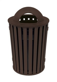 District Round Waste Receptacle with Dome Hood, Slat