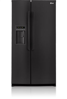 Side-By-Side Refrigerator with Ice and Water Dispenser (26.5 cu.ft.; Smooth Black)