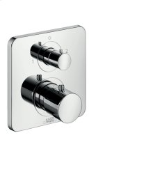 Polished Chrome Thermostat for concealed installation with shut-off/ diverter valve