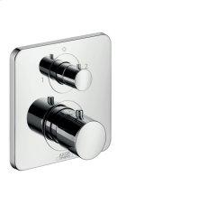 Polished Chrome Thermostat for concealed installation with shut-off/ diverter valve