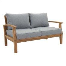 Marina Outdoor Patio Premium Grade A Teak Wood Loveseat in Natural Gray