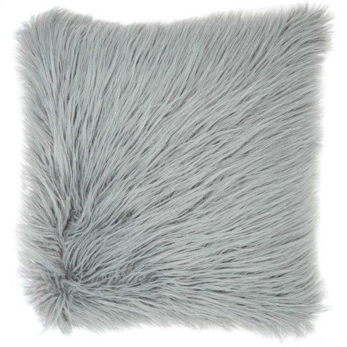 "Faux Fur Bj101 Light Grey 17"" X 17"" Throw Pillows"