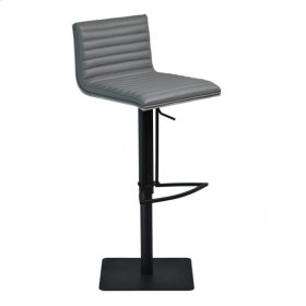 Armen Living Cafe Adjustable Swivel Barstool in Gray Pu with Black Metal Finish and Gray Walnut Veneer Back