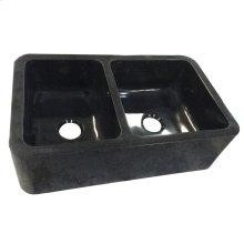 "Aubrey Double Bowl Granite Farmer Sink - 36"" - Polished Black"