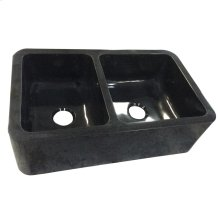 "Aubrey Double Bowl Granite Farmer Sink - 36"" - Polished Black"