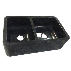 "Aubrey Double Bowl Granite Farmer Sink - 36"" - Polished Black Product Image"
