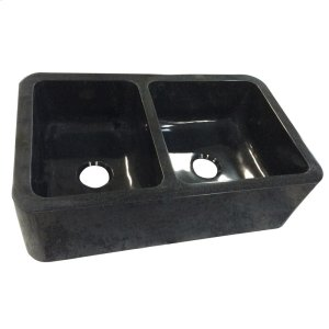 "Aubrey Double Bowl Granite Farmer Sink - 36"" - Polished Black Product Image"