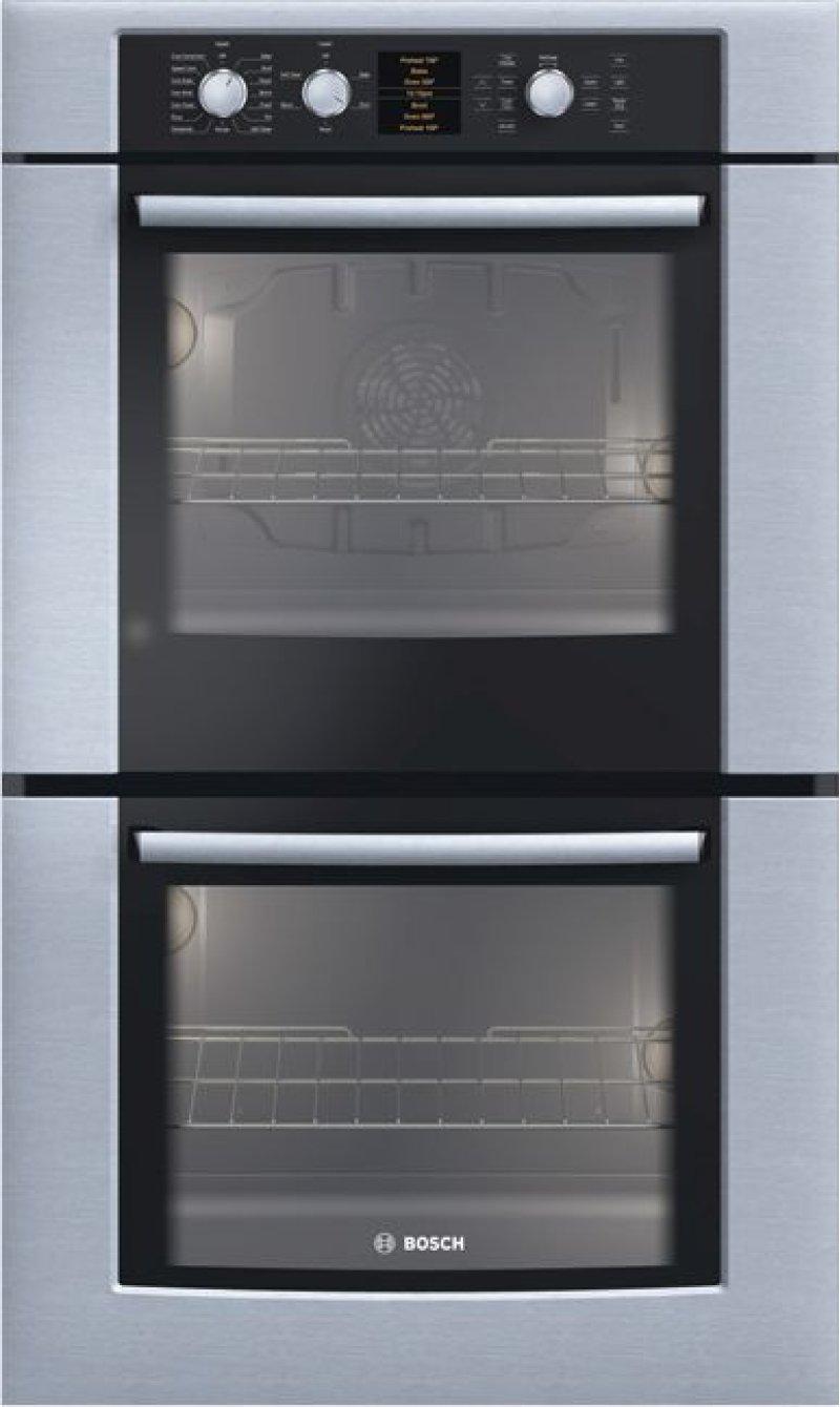 30 Double Wall Oven 500 Series Stainless Steel Hbl5650uc Hidden Bosch Logo