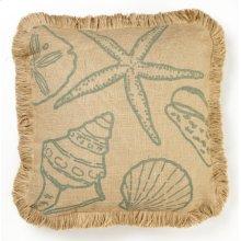 Blue Shells Burlap Pillow