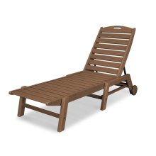 Teak Nautical Chaise with Wheels