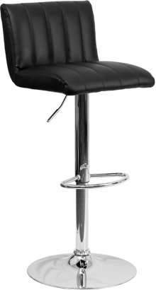 Contemporary Black Vinyl Adjustable Height Barstool with Vertical Stitch Back\/Seat and Chrome Base