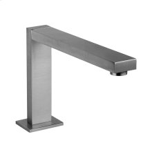 """Deck-mounted washbasin spout only with pop-up assembly Extended spout projection 8"""" Height 6-1/4"""" 1/2"""" connections Includes drain Requires mixer control 27115, 27117, or 27119 Max flow rate 1"""