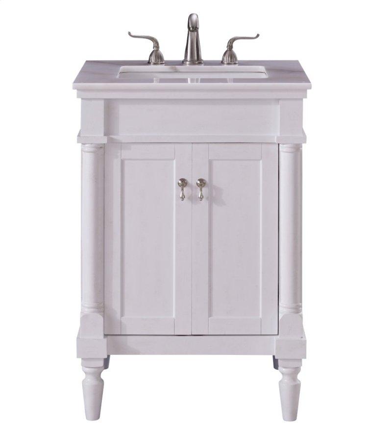 Single Bathroom Vanity Set In Antique White Hidden