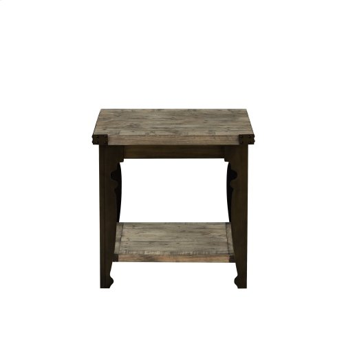 Emerald Home Valencia Square End Table Natural Reclaimed Pine Finish With Black Metal Legs T559 01