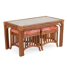 5500 Series Rattan Hassock Table & Stools Pecan Glaze
