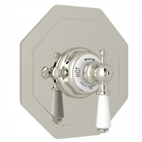 Polished Nickel Perrin & Rowe Edwardian Octagonal Concealed Thermostatic Trim Without Volume Control with Metal Lever