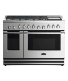 """48"""" Dual Fuel Range: 6 Burners With Griddle"""