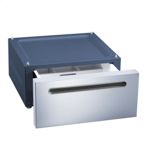 MielePlinth with drawer For ergonomic loading and unloading of the washing machine and dryer.