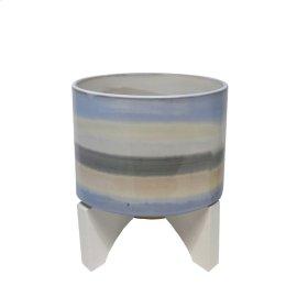 "Ceramic 14.5"" Planter On Stand, Blue Mix"