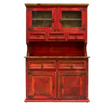 2 PC Red China Cabinet