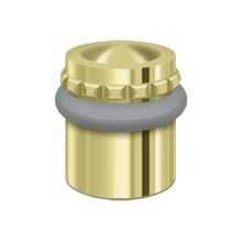 "Round Universal Floor Bumper Pattern Cap 1-1/2"", Solid Brass - Polished Brass"