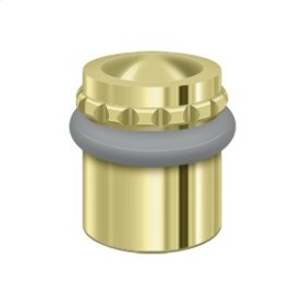 "Round Universal Floor Bumper Pattern Cap 1-1/2"", Solid Brass - Polished Brass"