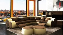 Divani Casa 3087 - Modern Bonded Leather Sectional Sofa & Coffee Table