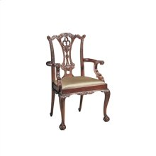 CARVED POLISHED MAHOGANY FINIS HED CHIPPENDALE ARMCHAIR, CABR IOLE LEG, NEUTRAL UPH
