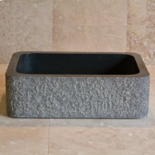 Farmhouse Sink With Chiseled Apron, 8 Inch Depth Black Granite