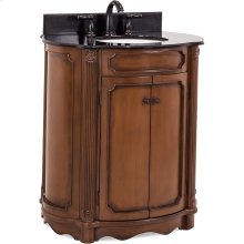"""32"""" elliptical vanity with Walnut painted finish, reed columns, and simple carvings all topped with preassembled top and bowl."""