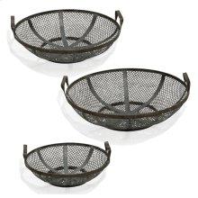 Black Steel  Instustrial Traditonal  Set of Three Metal Baskets