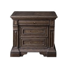 Bedford Heights 3 Drawer USB Charging Nightstand in Estate Brown