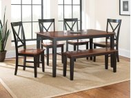 6 PIECE DINING SET (TABLE WITH 4 CHAIRS AND BENCH)