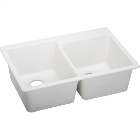 "Elkay Quartz Classic 33"" x 22"" x 9-1/2"", Offset Double Bowl Top Mount Sink, White"