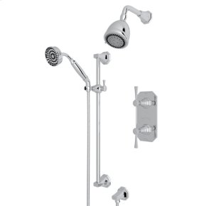 Polished Chrome Deco U.KIT56LS Thermostatic Shower Package with Deco Metal Lever