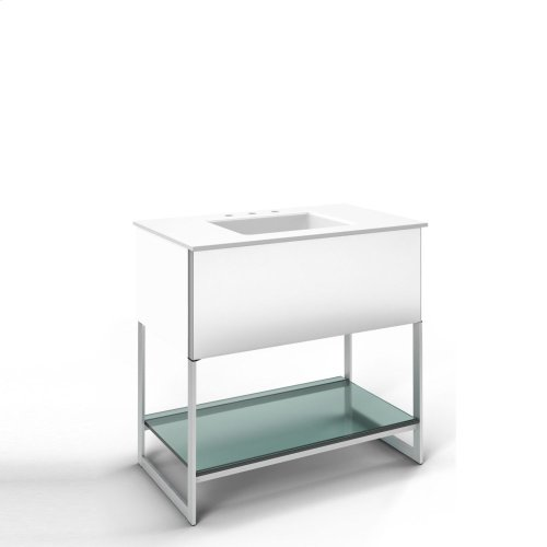 """Adorn 36-1/4"""" X 34-3/4"""" X 21"""" Vanity In White With Slow-close Plumbing Drawer, Towel Bar On Right Side, Legs In Brushed Aluminum and 37"""" Stone Vanity Top In Quartz White With Integrated Center Mount Sink and 8"""" Widespread Faucet Holes"""