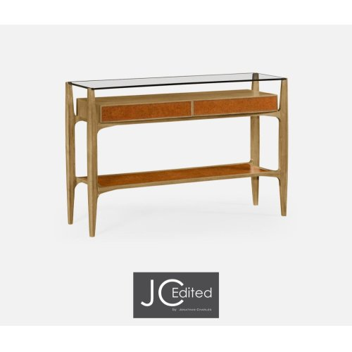 Architects Console Table with Drawers Ang Glass Top