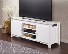 Nantucket 60 inch Entertainment Console with Adjustable Shelves and Charging Station in White