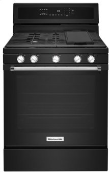 30-Inch 5-Burner Gas Convection Range - Black