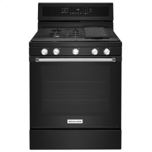 Kitchenaid30-Inch 5-Burner Gas Convection Range - Black