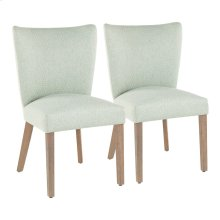 Addison Dining Chair - Set Of 2 - Ash Brown Wood, Green Fabric