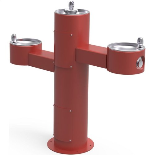 Elkay Outdoor Fountain Tri-Level Pedestal Non-Filtered, Non-Refrigerated Red