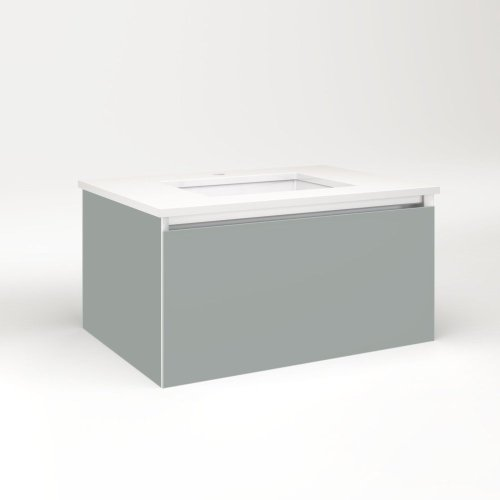 """Cartesian 30-1/8"""" X 15"""" X 21-3/4"""" Single Drawer Vanity In Matte Gray With Slow-close Plumbing Drawer and Night Light In 5000k Temperature (cool Light)"""