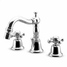 """3 hole bidet mixer, swivel spout with aerator, 1 1/4"""" pop-up waste, flexible tails."""