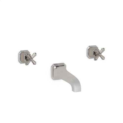 High Polished Platinum Harrison Cross Handle Wall Mount Tub Set